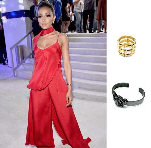 Tinashe wears the MARIE'S HEAD CUFF and TRIPLE STACKED BAMBOO RING to the 2016 MTV Video Music Awards