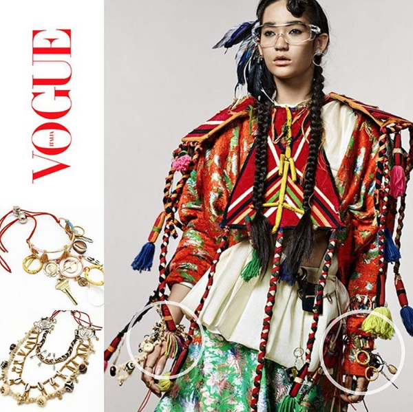 The HATURN HARVEST ARMBAND (worn as bracelet) and HATURN/ORBIT EARCUFF SET/HEADPIECE featured in an online editorial for VOGUE ITALIA