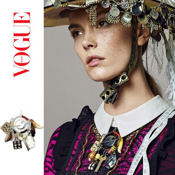 The HATURN HARVEST EARRING (worn as a brooch) featured in an online editorial for VOGUE ITALIA