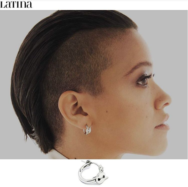 Gina Rodriguez wears the MINI HATURN HOOP EARRING in LATINA MAGAZINE