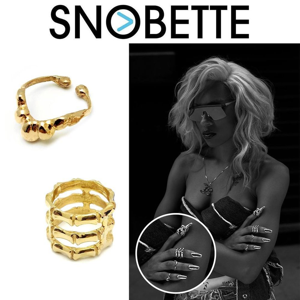 Brittany  Byrd wears our PROMISE TIP RING and TRIPLE STACK BAMBOO RING in an online editorial for The Snobette.