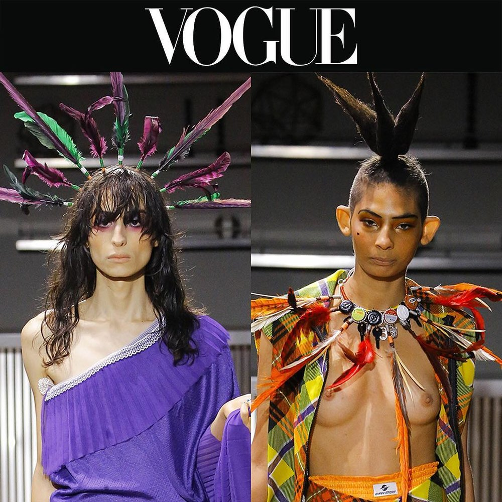 Chrishabana   For Gypsy Sport   Harurn Bottlecap and feather neck cuff as headpiece and choker   from Vogue Magazine.