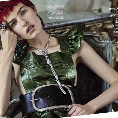 Zana Bayne X Chrishabana OVERSIZED BUCKLE BELT from Vogue Russia.