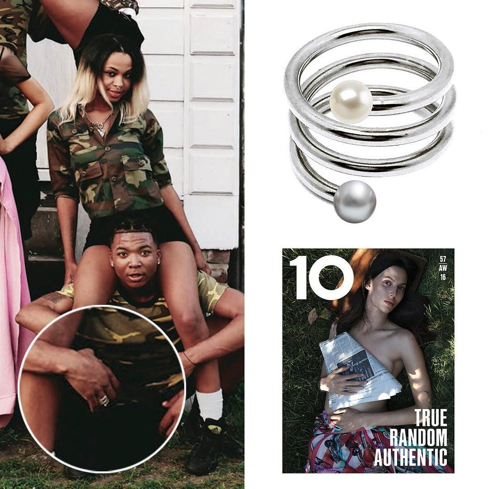 Chrishabana for Opening Ceremony SPIROGRAPH PEARL RING for 10 Magazine.