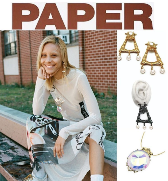 My Enemy THE SHAMAN DOUBLE LEVEL EARRINGS and SNAPDRAGON MONOCOLE NECKLACE from PAPER MAGAZINE