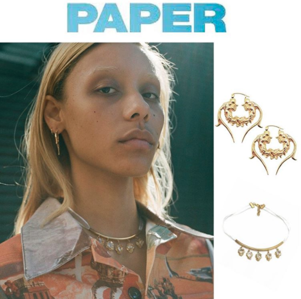 My enemy CORTISAN EARRINGS and CHRYSALIS CHOKER from PAPER MAGAZINE