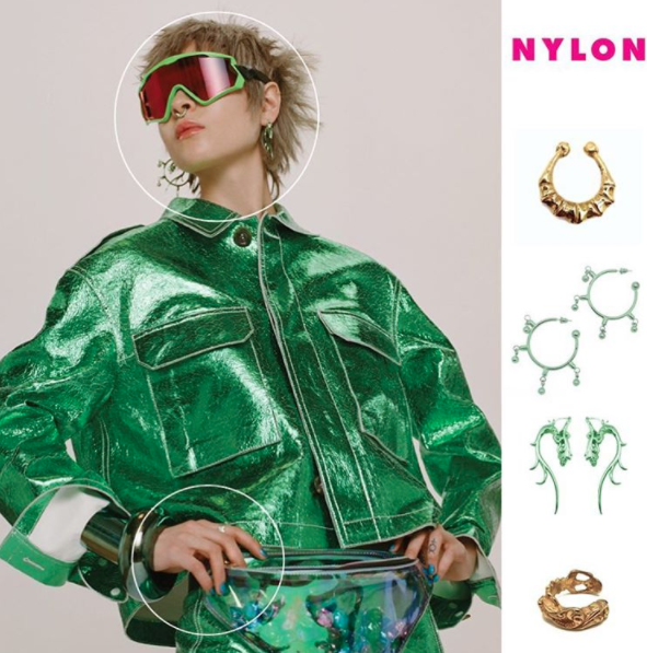 My Enemy THE ROUND THE WAY BAMBOO SEPTUM CUFF, SEARCH AND DESTROY EARRING, THE BARONESS EARRINGS, THE LOUIS RING for NYLON MAGAZINE