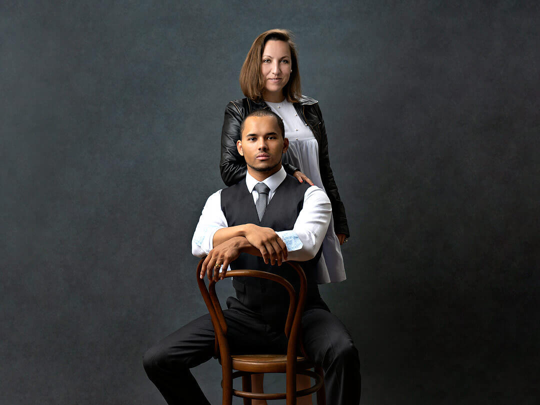 Litigium Founders Nati Gomez and Mathieu Parreaux pose for their portraits and headshots at Patric Pop Photo Studio at Rive iN genève / Geneva