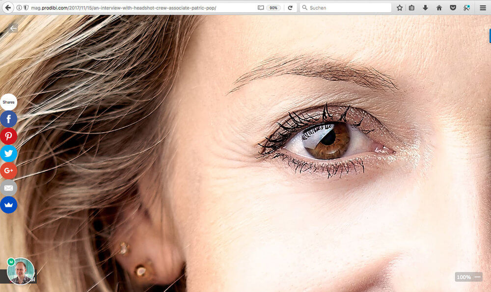 "Detail of a Headshot by Patric Pop Photo in Genève / Geneva at 100%, screenshot aken on a 13"" MacBook Pro."