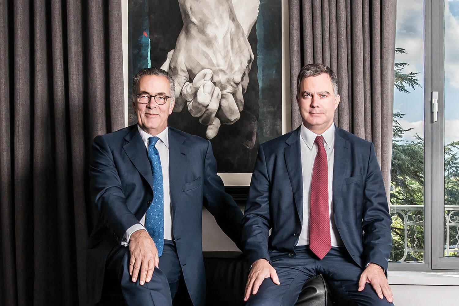 Portrait of the Esteve Brothers, CEOs of Banque Heritage in Geneva