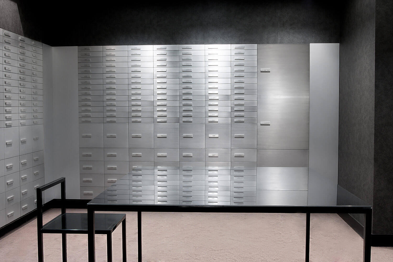 Commercial interiors photography of the vault of a Swiss Private Bank in Geneva.