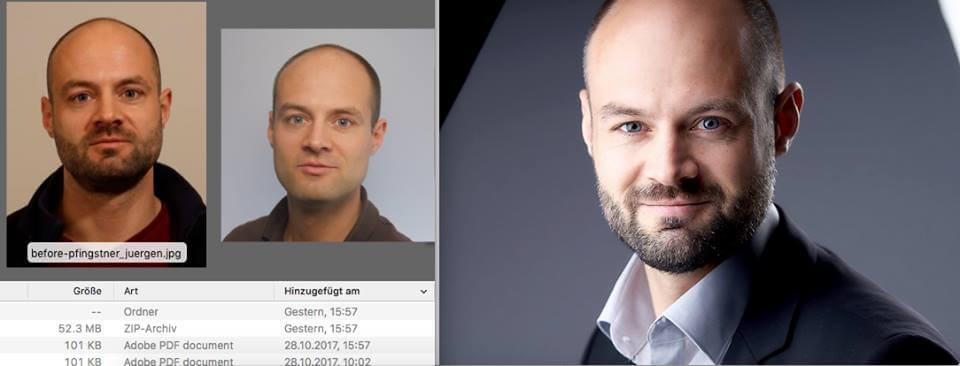 Before and after headshots of Juergen Pfingstner of CERN. The picture on the right shot by Patric Pop in Geneva is SOOC Straight out of camera.