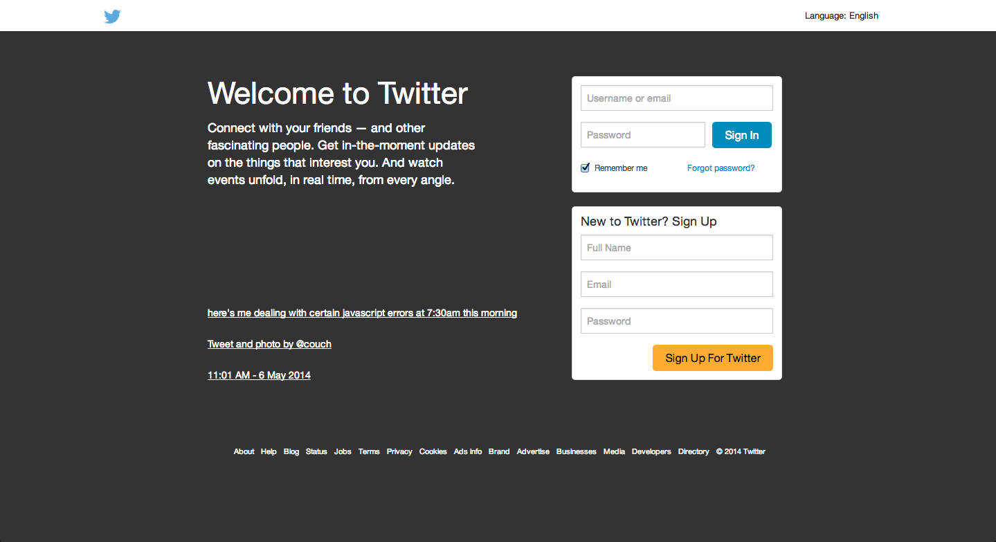 The prototype Twitter homepage made with Foundation