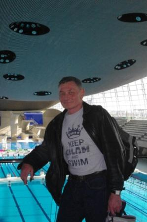 """Christopher, sporting the """"Keep GLLAM and Swim"""" T shirt from 2013"""