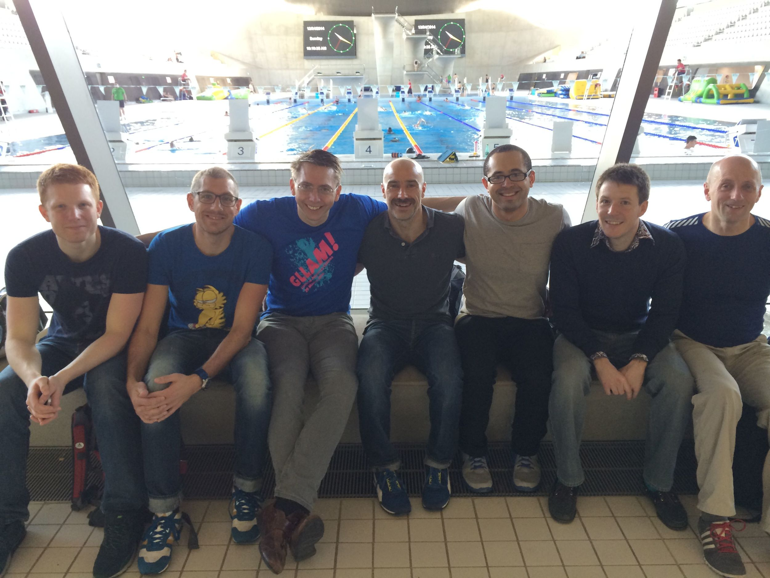 7 of our 12 swimmers - you may just be able to spot the clocks in the distance...