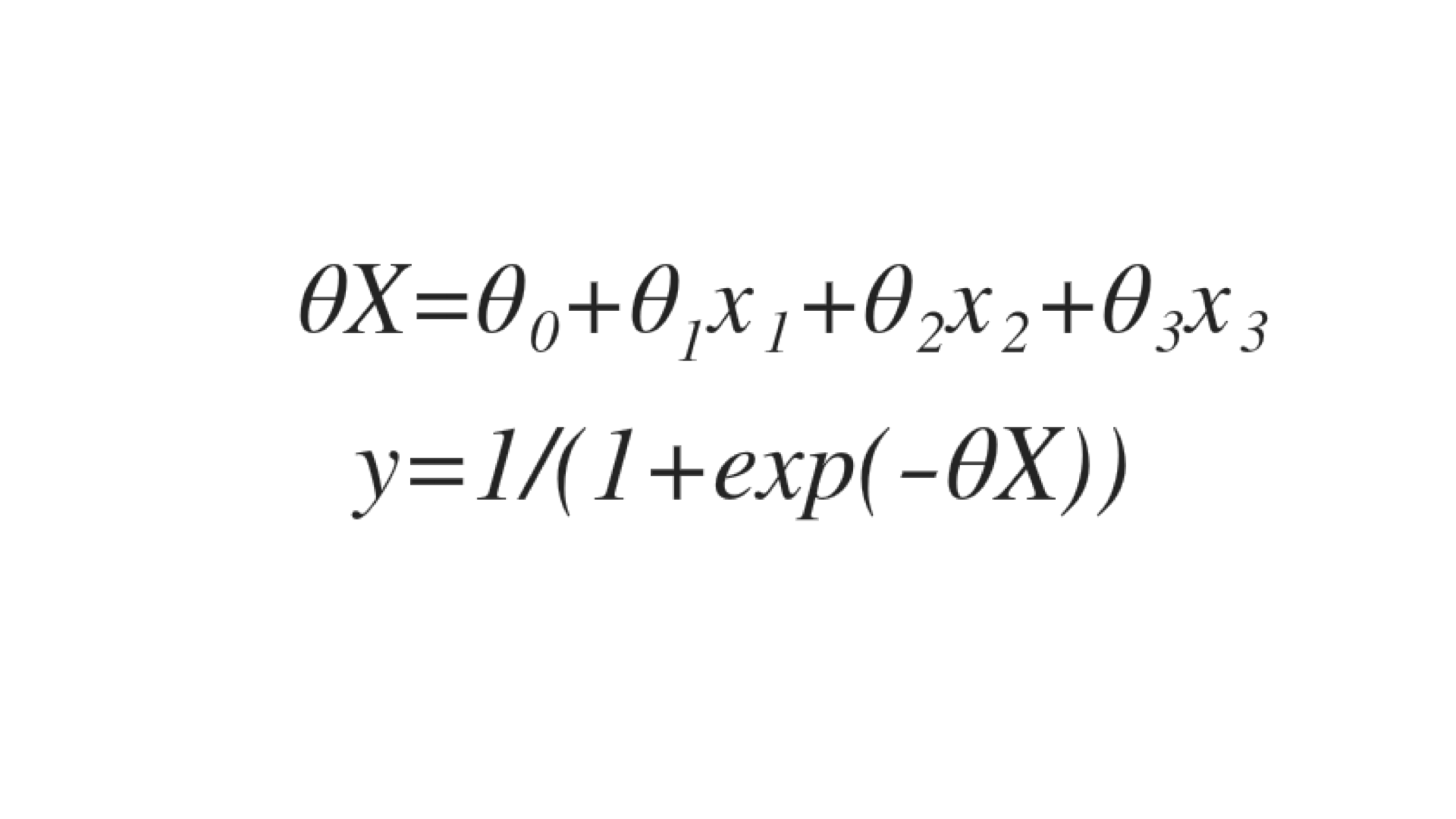 "Formulars of ""Logistic regression model"""