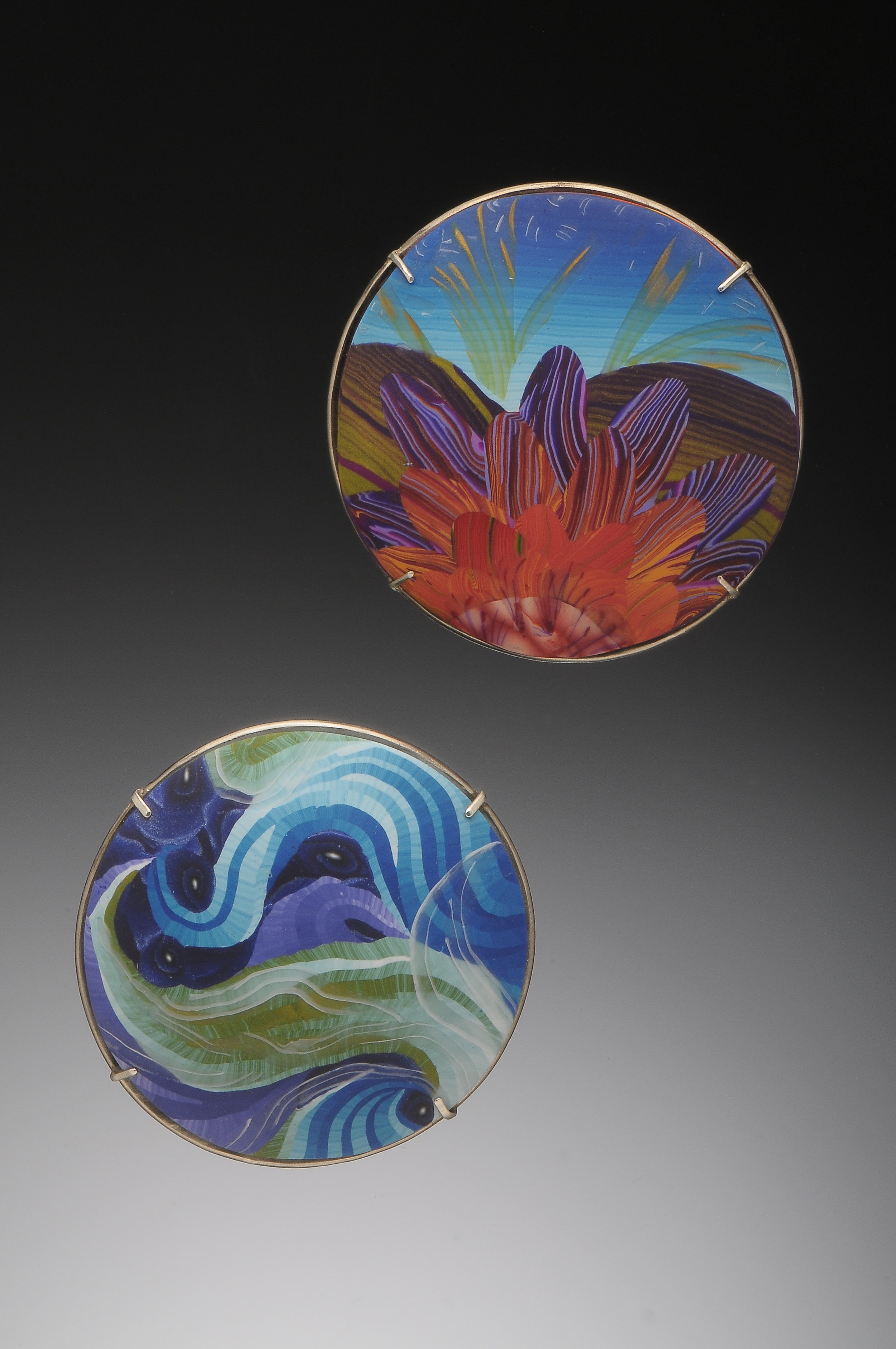 lotus and wave dome pins