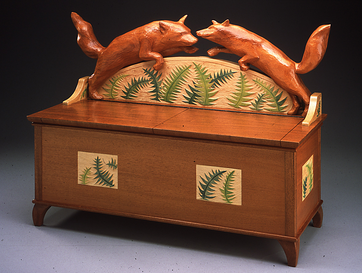 two foxes bench