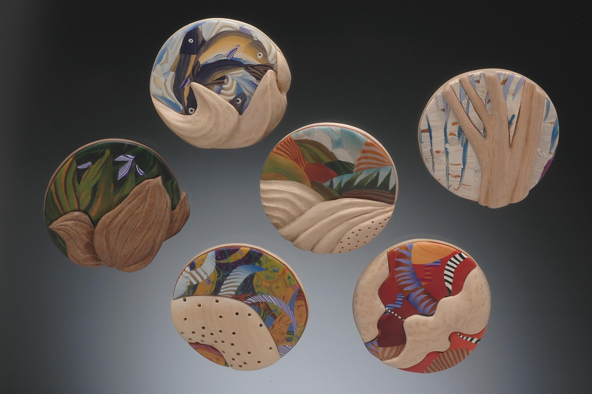 carved circle pins