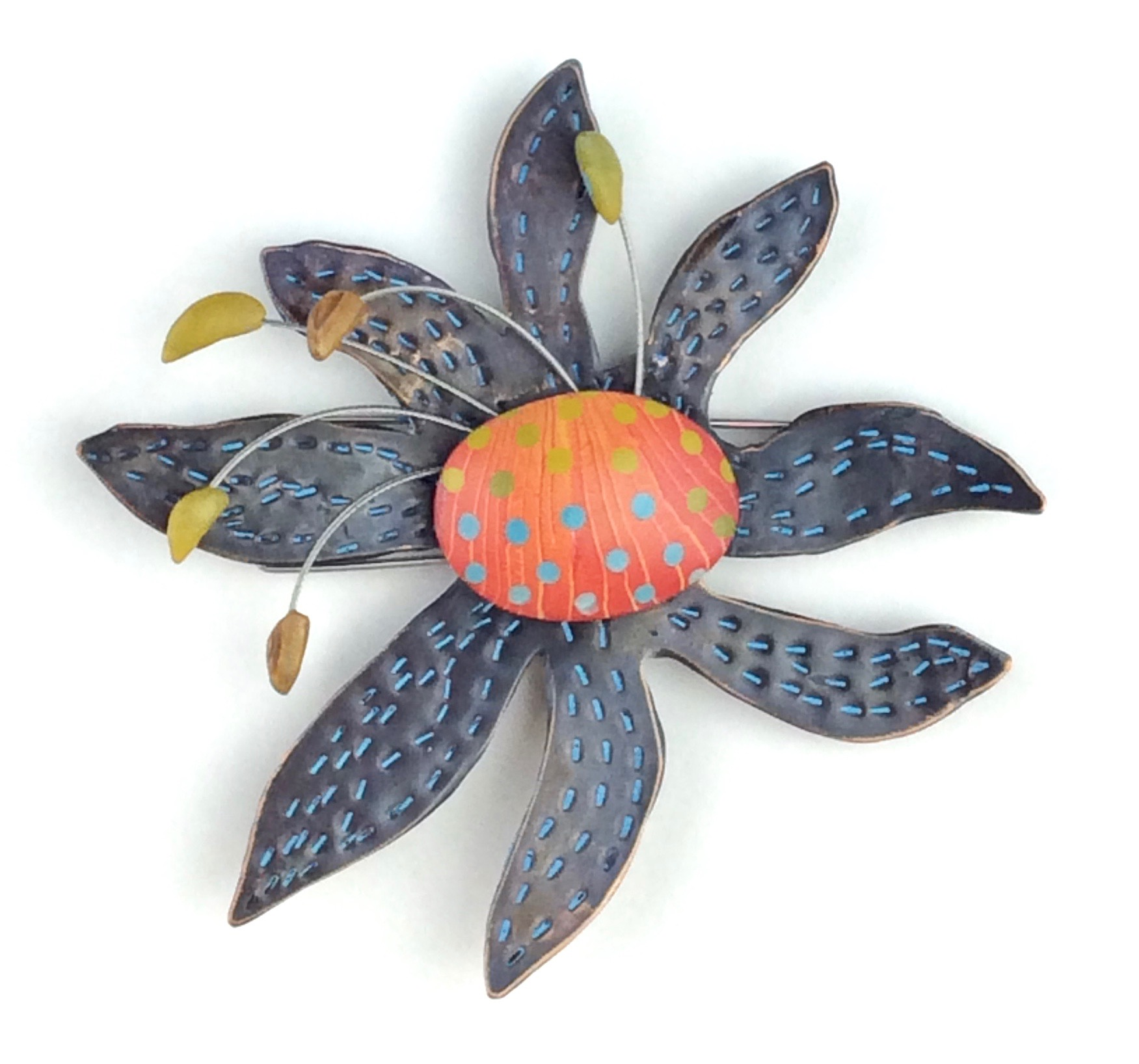 Petal Bop Pin  polymer clay millefiori marquetry, patinated bronze, sterling silver, stainless steel wire, acrylic paint  3.25 x 3.25 x .375 D