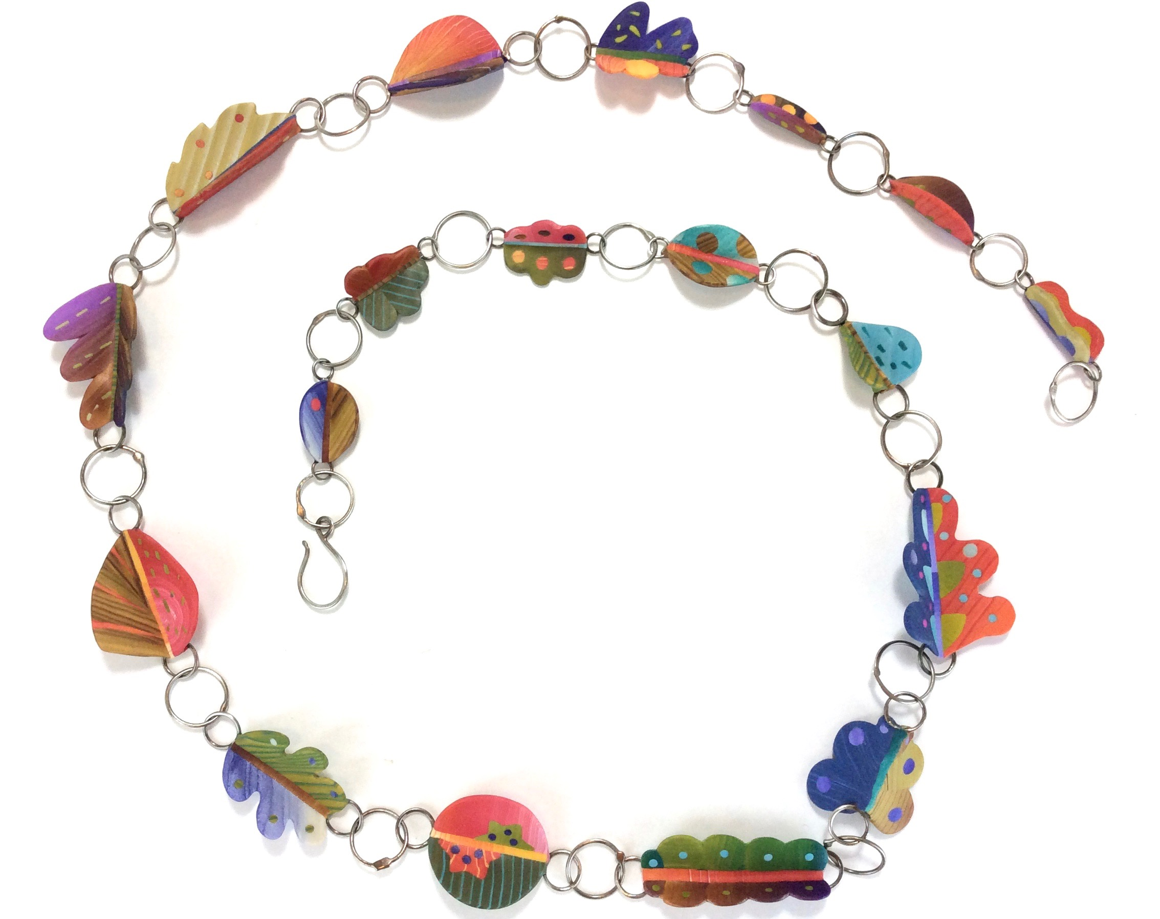 """Songbird/Leaf Necklace  polymer clay millefiori marquetry, patinated sterling silver 2019  36"""" L x 1"""" W x.175 D"""