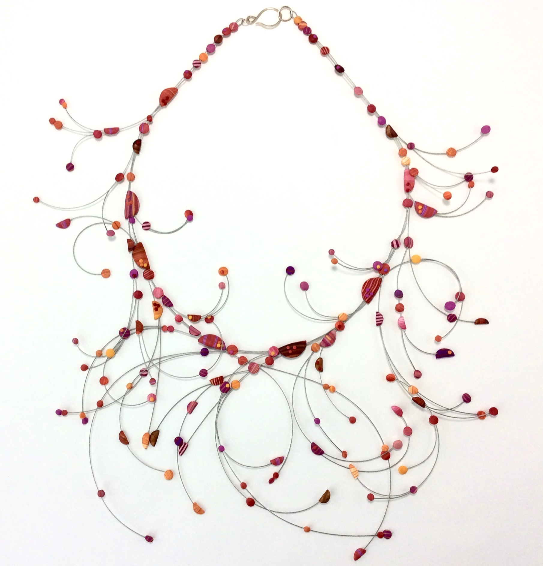 "Branch and Bubble  Necklace  Polymer Clay millefiori marquetry, stainless steel wire, argentium silver hook 2019  20"" L x 5.5 "" H x 6"" W .125 x D  2019"