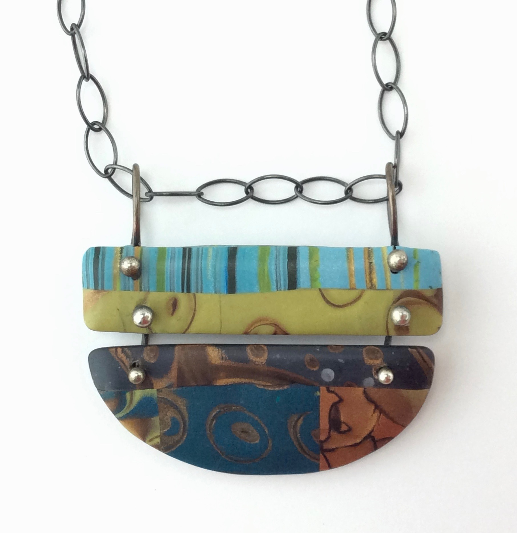 "Dancing Pendant  polymer clay millefiori marquetry, argentium silver, patinated sterling silver chain with fabricated sterling silver hook  30"" L x 1.5""W x 1"" H"