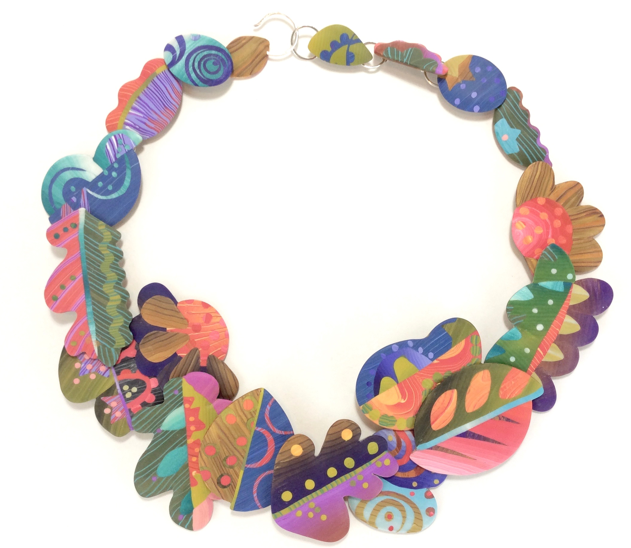 Plenty/Autumn Necklace  polymer clay millefiori marquetry, nickel silver and sterling silver  21.5 L x 1.5 w x 1/4 D  2018