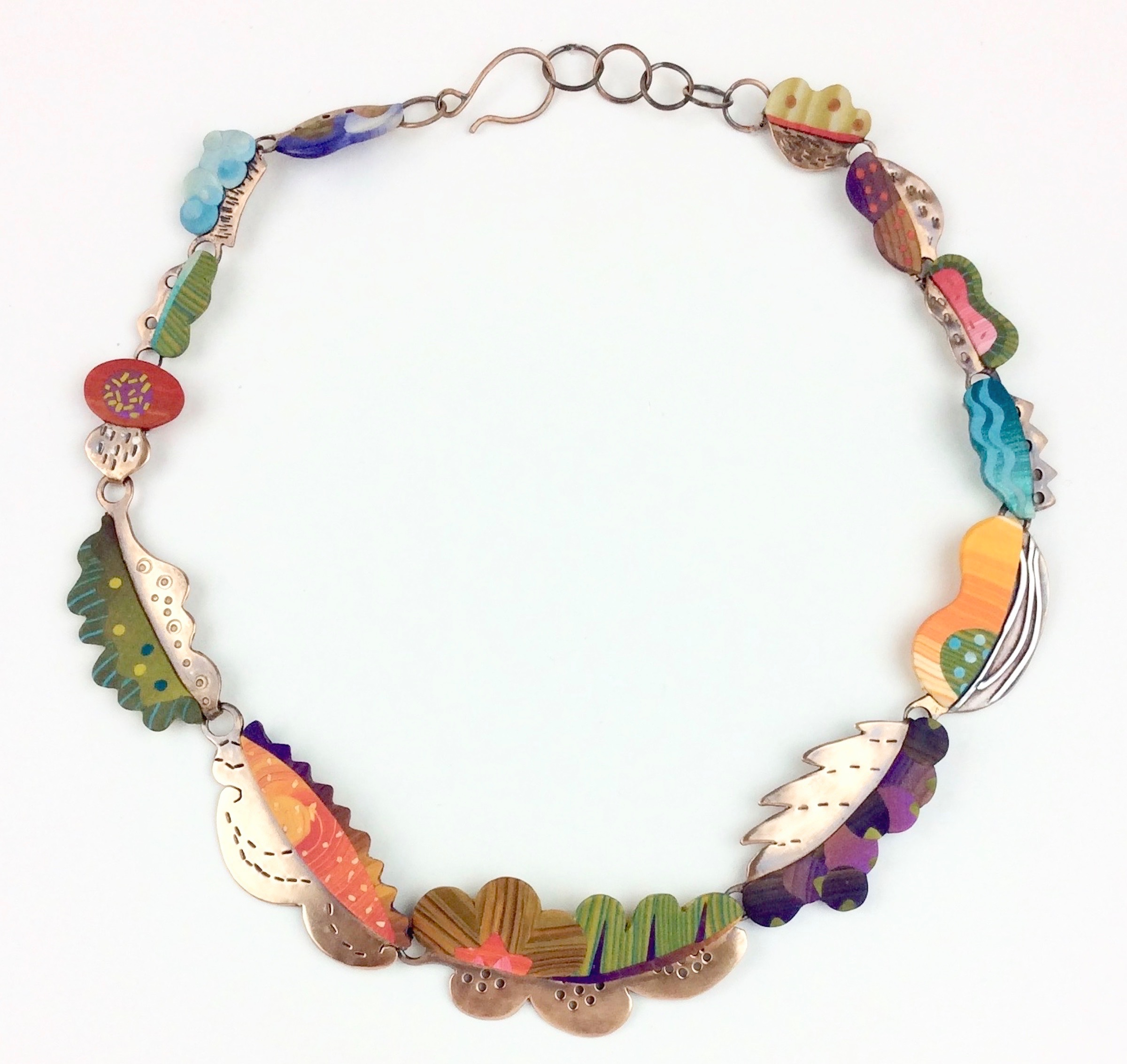 """Summer Turns to Fall Necklace  polymer clay millefiori marquetry, patinated bronze 2018  18"""" L x 1 """" W x .15 """" D"""