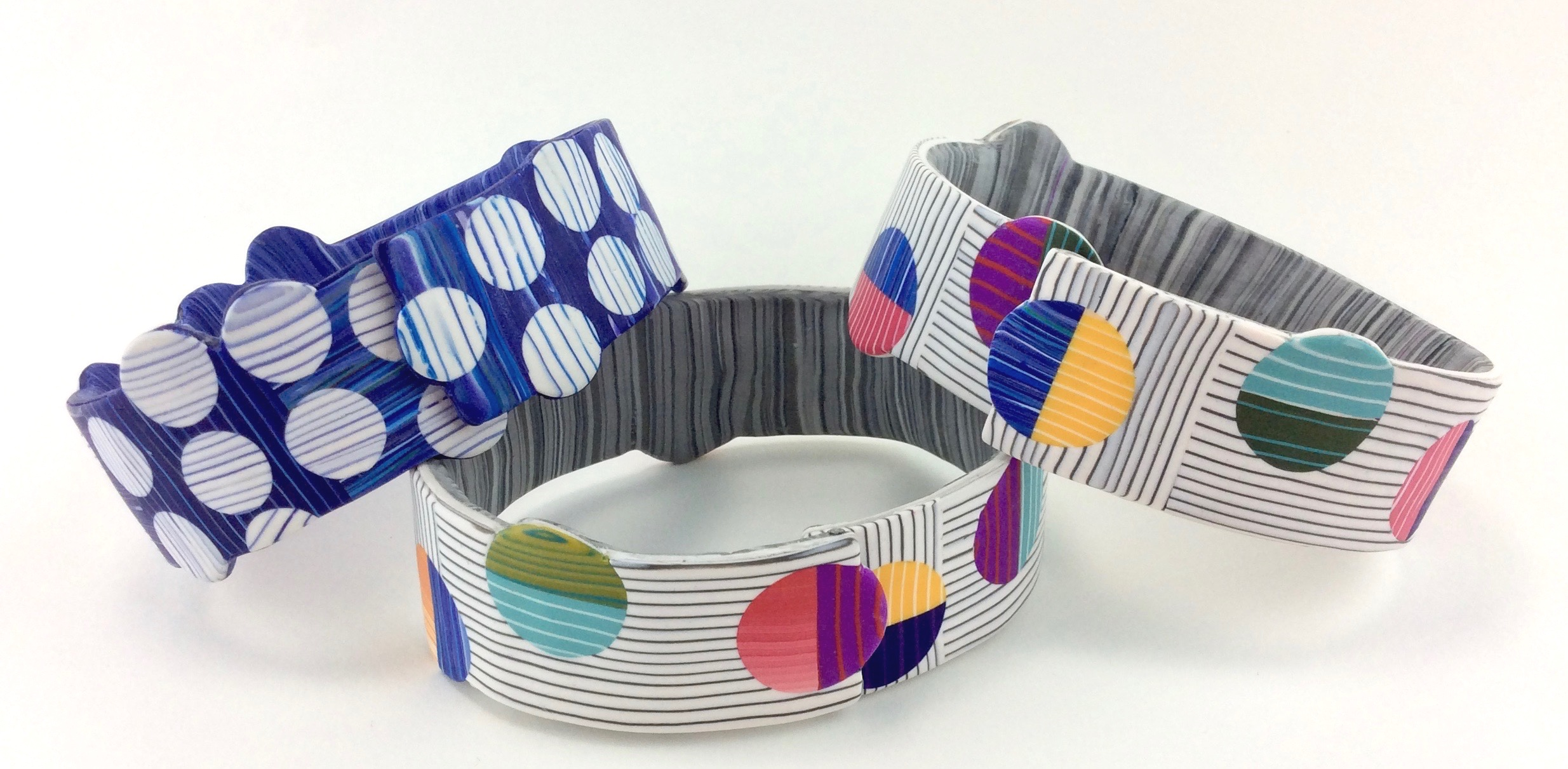 """hook and loop bracelets-2018-2019  polymer clay millefiori marquetry, Bronze armature wire and clasp  1 """" w x 8.5 (9) circumference x .175 D"""