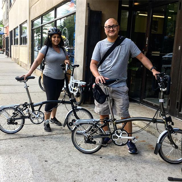 What's better than a Brompton? Two Bromptons, so you can ride with your sweetie! Happy #newbikeday Jessica and Mig!! #bromptonlife  #bromptonbicycle  #bromptonchicago  #newbromptonday  #bikechi  #justride  #cosmicbikes