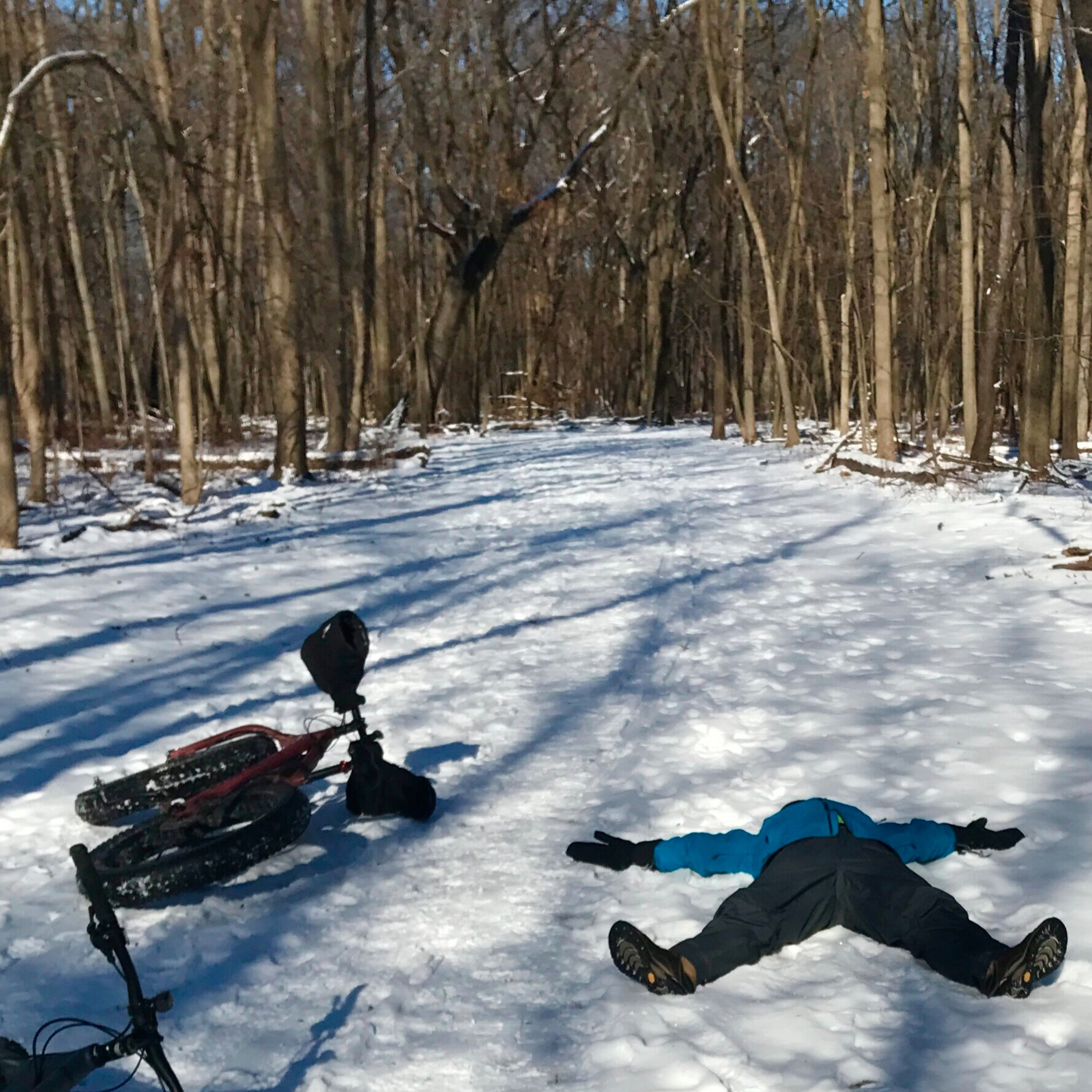 Snow angel at -4°F. Don't try this without good base layers!