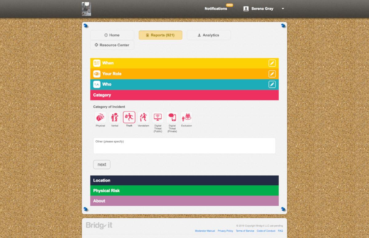Original desktop reporting interface (2014)