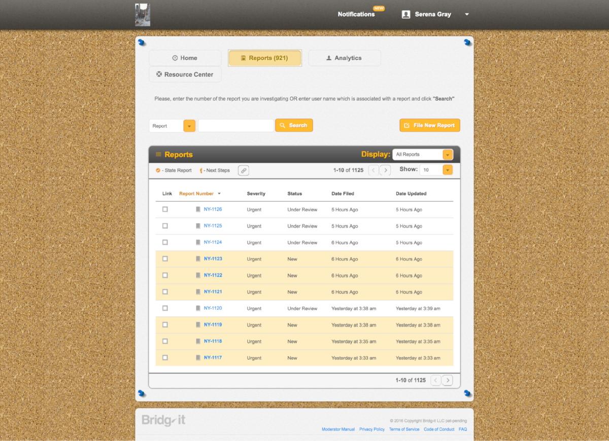 Original Reports list screen