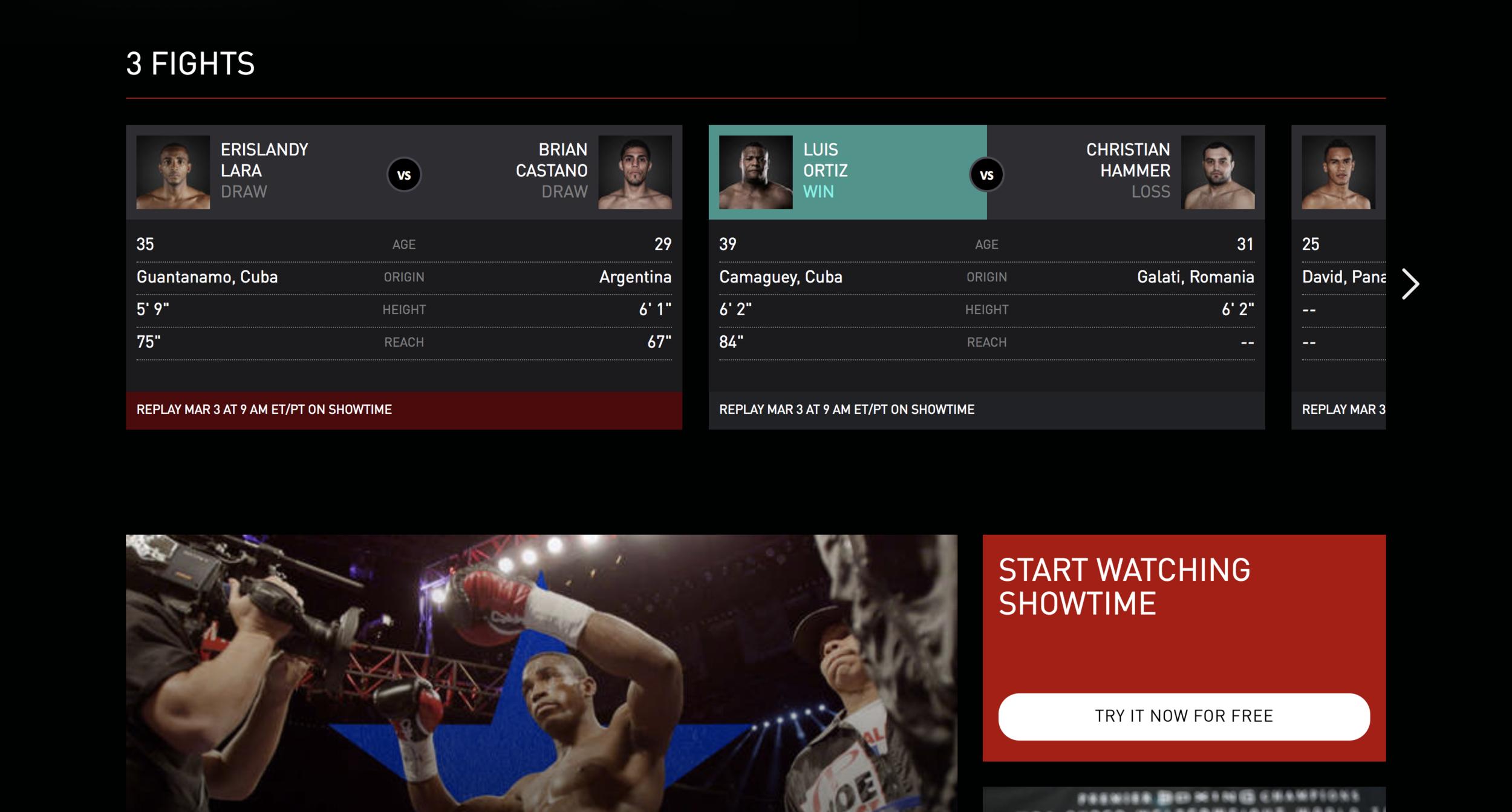 Screenshot of Lara vs. Castano page on Sho.com