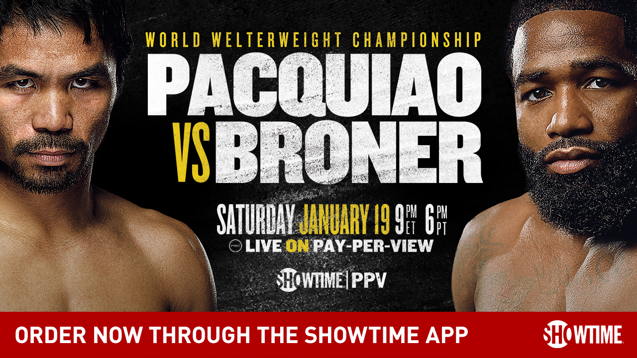 Banner crop of main key art for the Pac v Broner fight for Amazon Fire TV devices