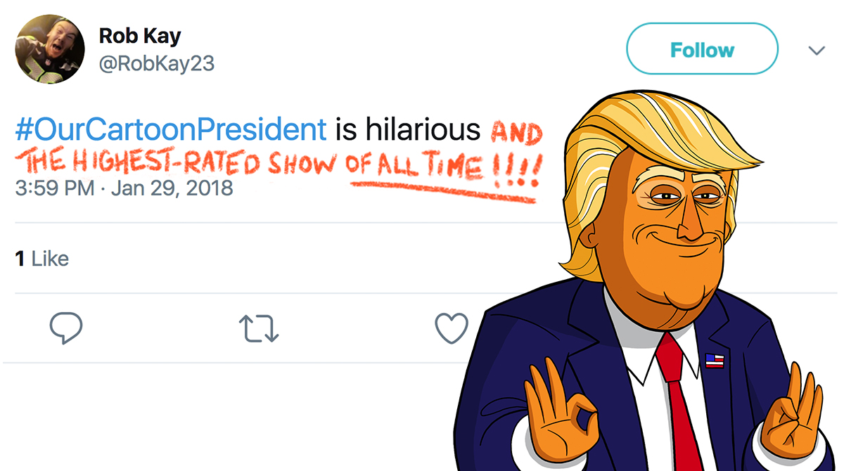"""Conceptualized and created this promotional graphic for Our Cartoon President featuring a series of """"Cartoon Trump"""" editing out tweets about himself!"""