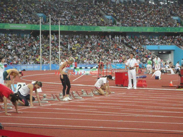 Christie preparing for her race at the World University Games