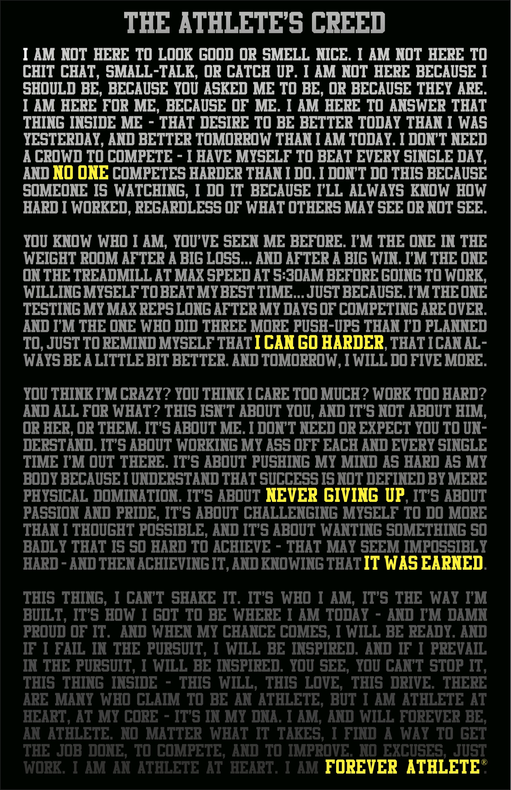 To read the Athlete's Creed in it's Entirety,  Click Here :