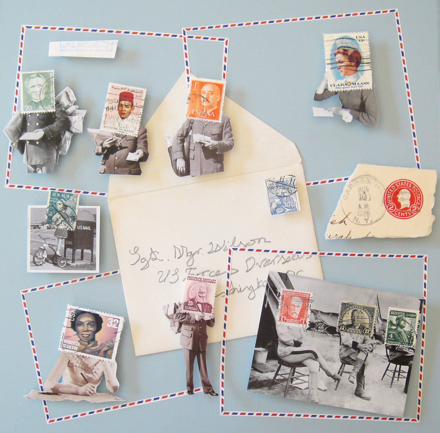 Collage using postage stamps and magazine clippings: Prioritaire (2013)
