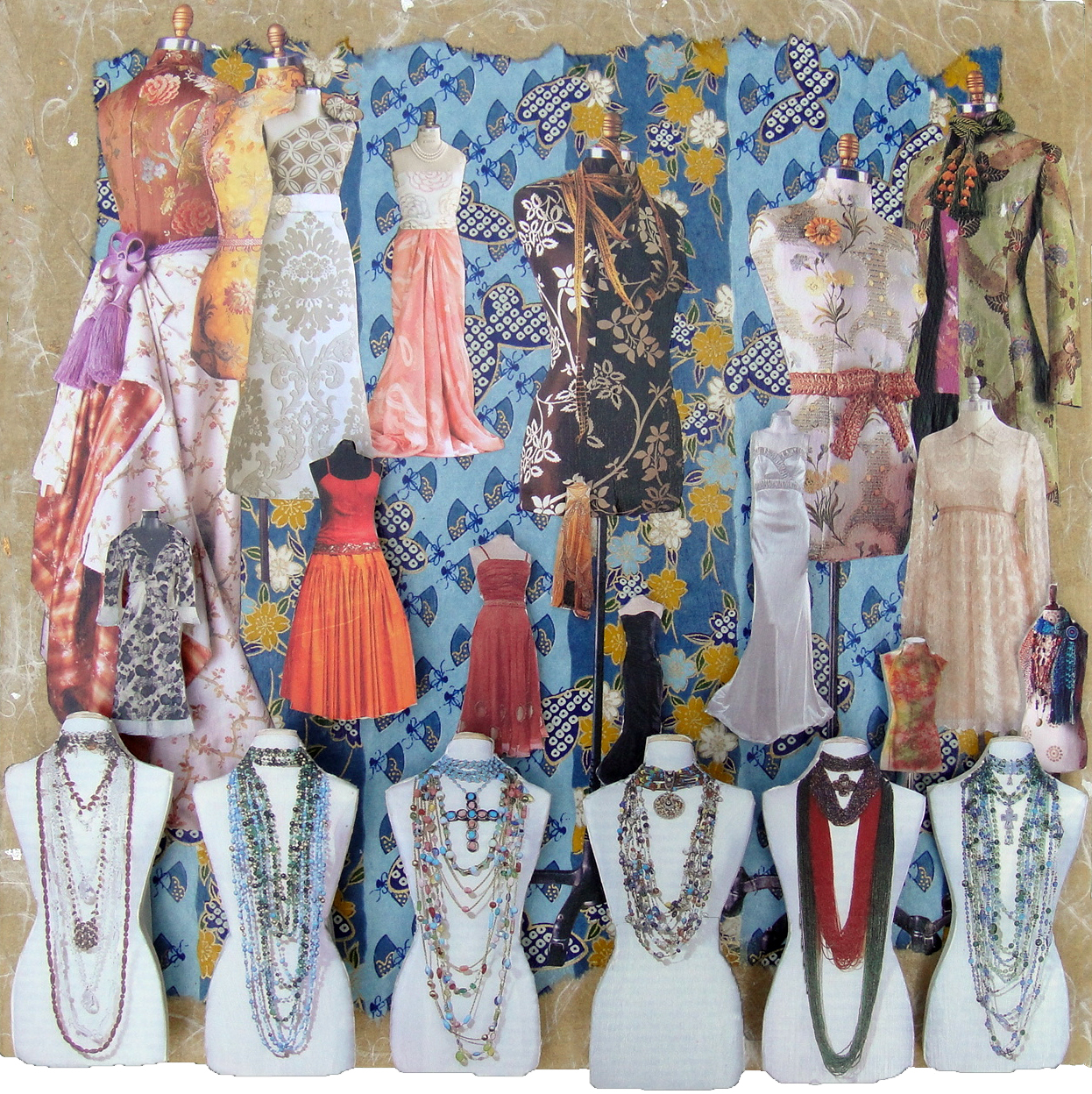 Collage using magazine clippings and decorative papers: What To Wear (2011)