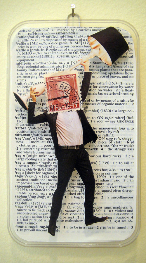 Collage using postage stamps, magazine clippings and vintage dictionary pages: Rage (2013)