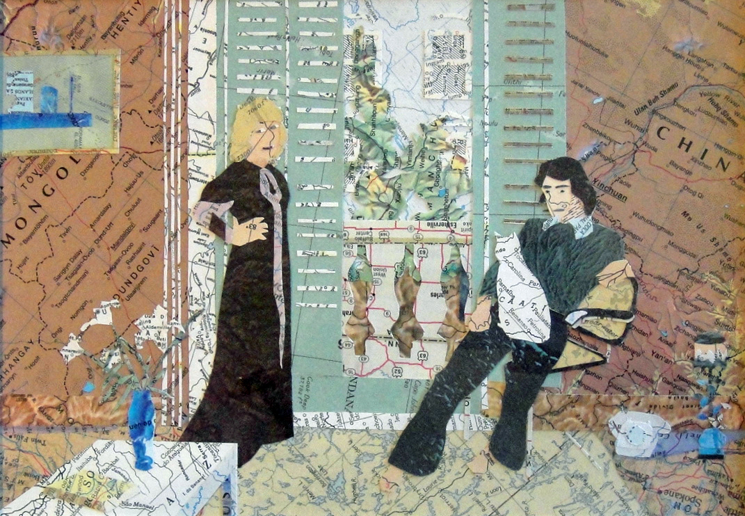 Collage made from maps, based on the painting by Hockney: Mr. And Mrs. Clark And Percy (2013)