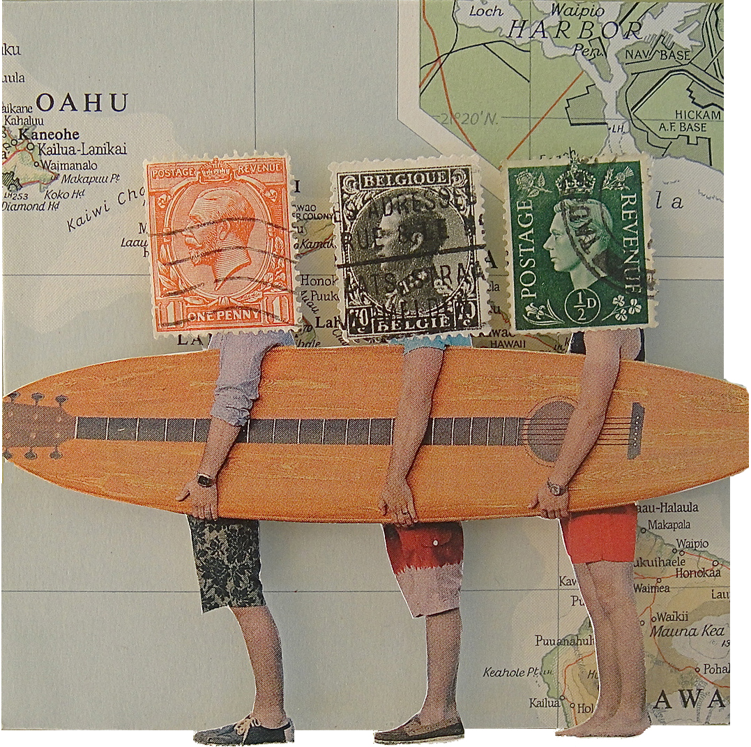 Collage made from postage stamps, magazine clippings and maps: Aloha Friday (2013)