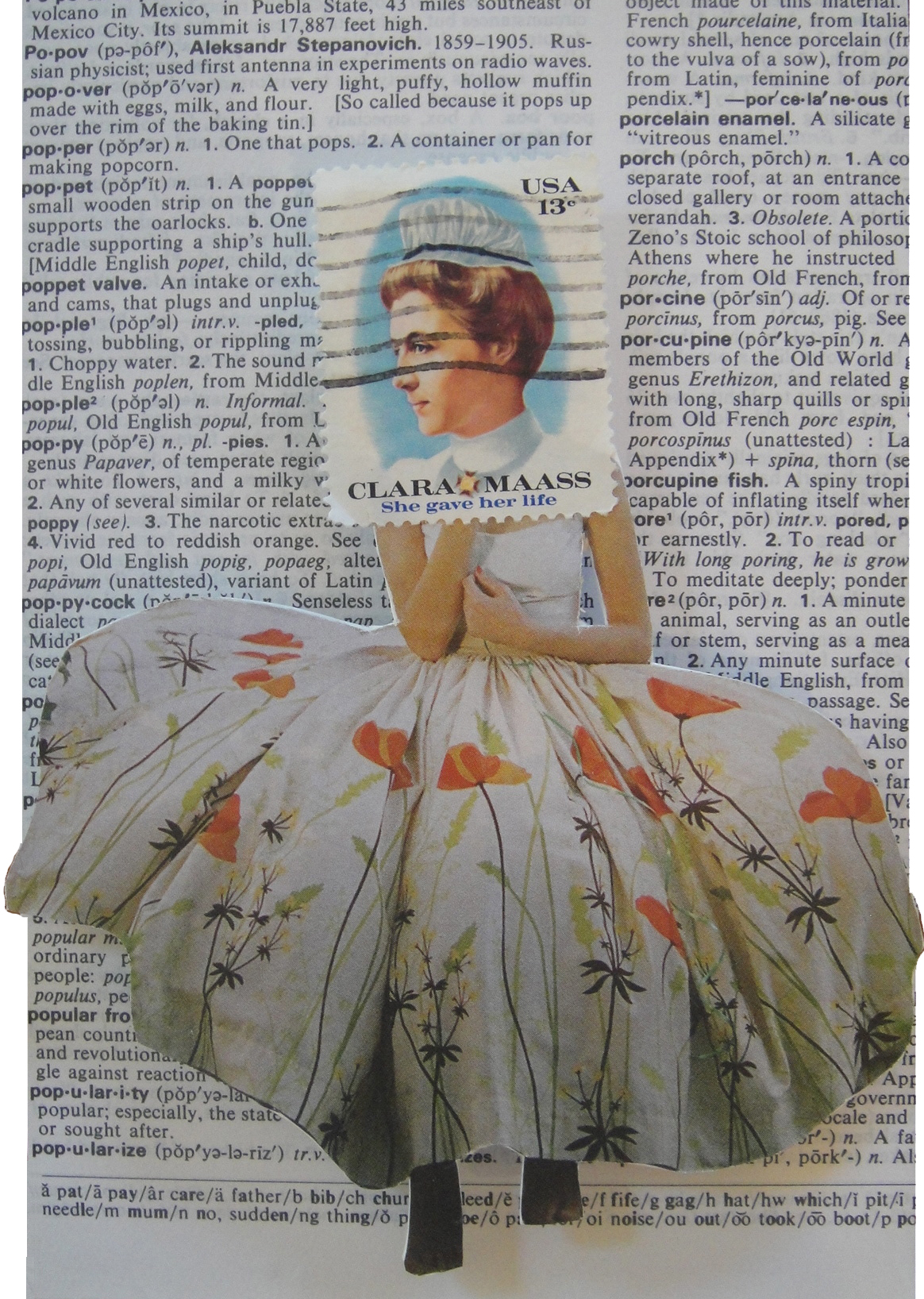 Collage made from postage stamps, magazine clippings and old books: Poppies (2013)