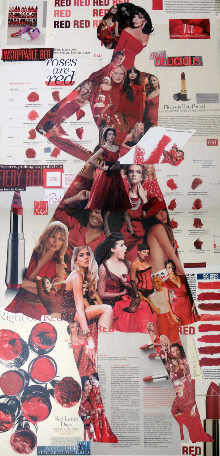 Collage of a female figure made from magazine clippings: Red For A Week: Fun! (2008)