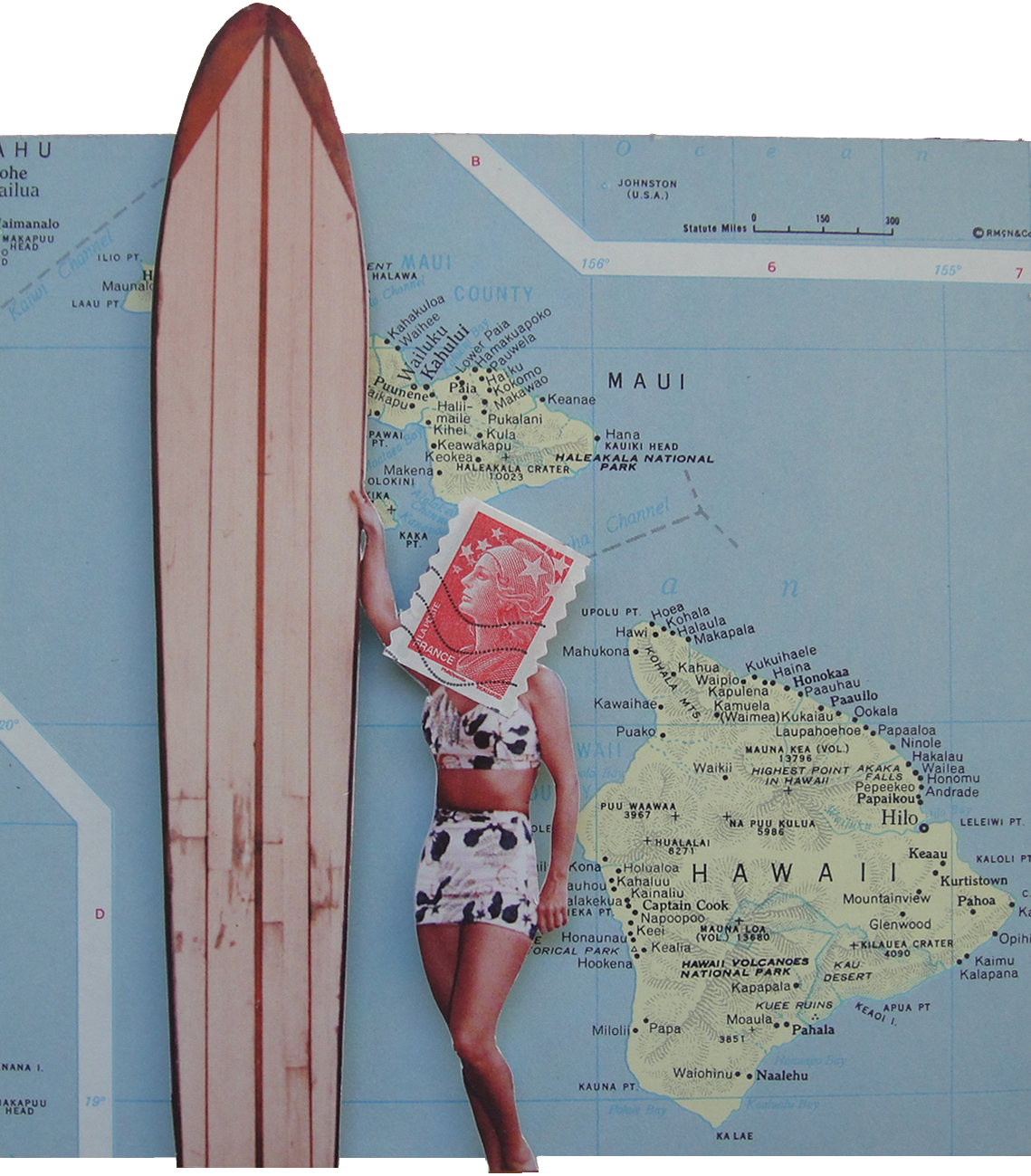 Collage made from postage stamps, magazine/book clippings and vintage maps: The Endless Summer (2014)