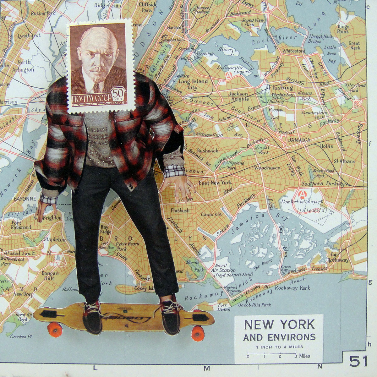 1 Inch To 4 Miles (2015) 6X6: Collage made from postage stamps, magazine clippings and old maps.