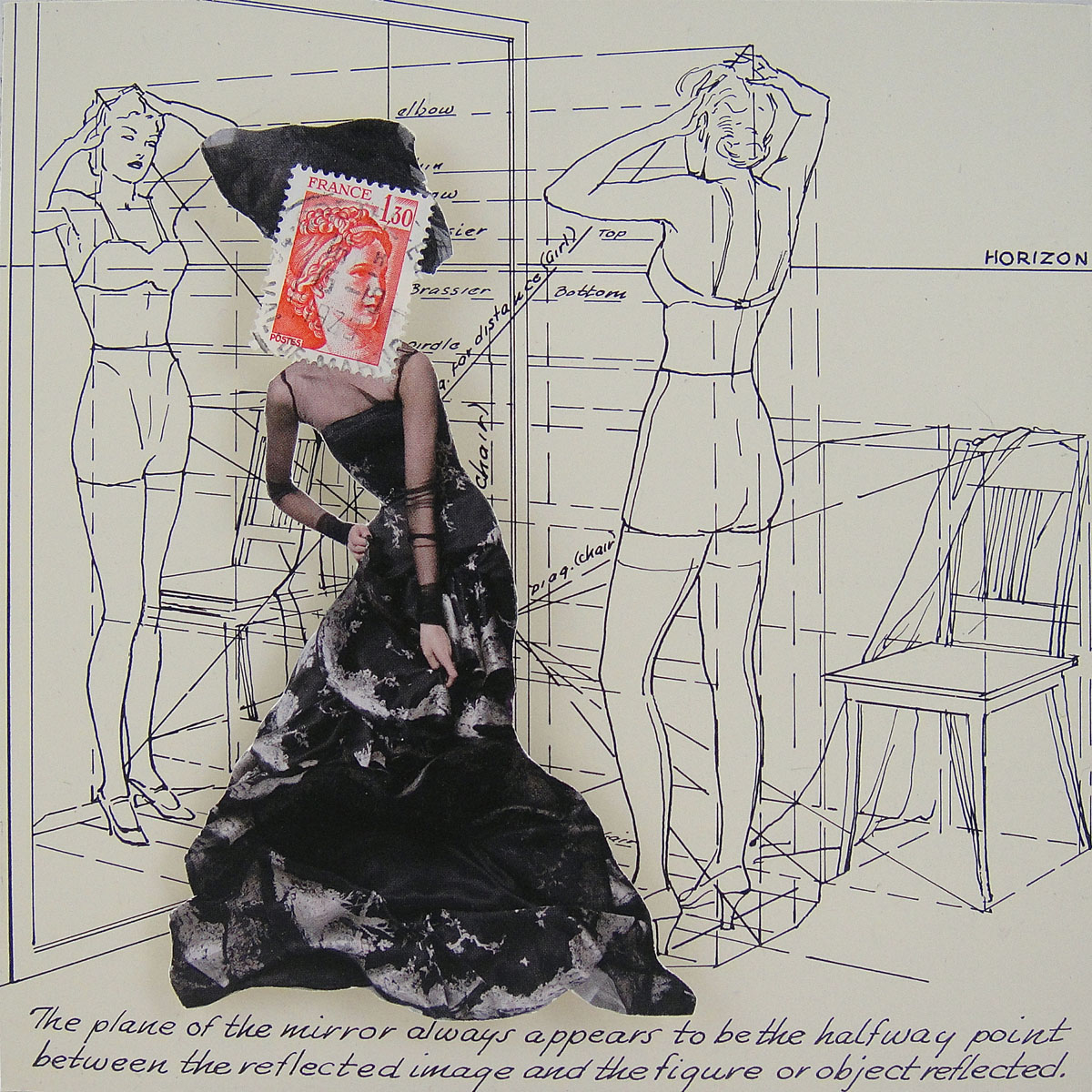 Collage made from postage stamps, magazine clippings and a page from a vintage how to drawing book: Reflection (2015) 6x6