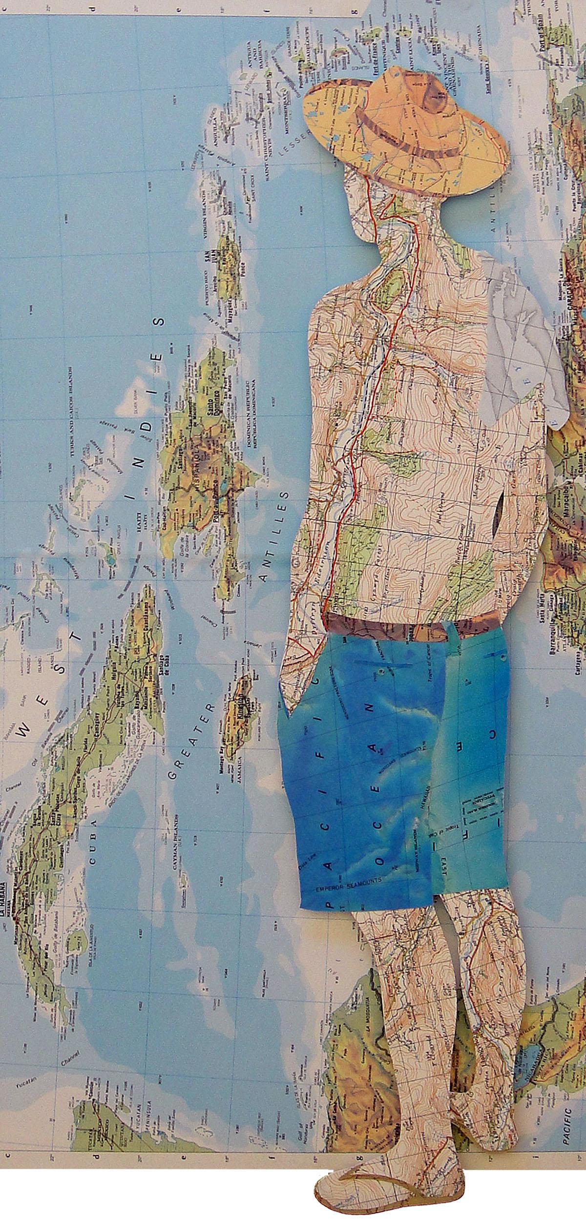 Collage using old maps: La Habana (2015)